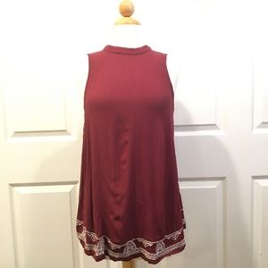 Mossimo Wine Red Embroidered Sleeveless Blouse
